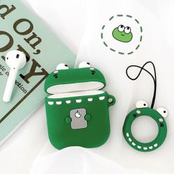 Custodia design creativo in silicone per Airpods 1/2 a forma di Coccodrillo Verde