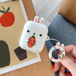 Custodia design creativo in silicone per Airpods 1/2 a forma di Coniglio Bianco
