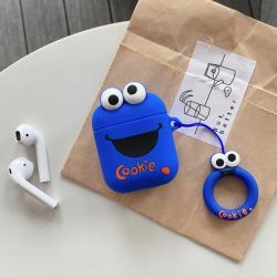 Custodia design creativo in silicone per Airpods 1/2 a forma di Cookie Blu