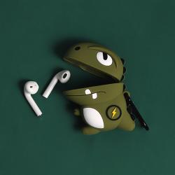 Custodia design creativo in silicone per Airpods 1/2 a forma di Dinosauro Verde