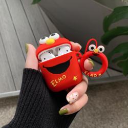 Custodia design creativo in silicone per Airpods 1/2 a forma di Elmo Rosso